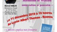 """En raison des perturbations dans les transports, la conférence du Mercredi 11 décembre de Michel SEELIG """"César est dieu"""" est reportée à une date ultérieure. Nous ne manquerons pas de […]"""